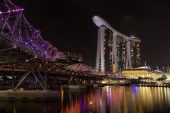Helix Bridge singapore. Helix Bridge and Marina Bay singapore Stock Photography