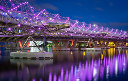 Helix Bridge, Singapore. The Helix Bridge, previously known as the Double Helix Bridge, is a pedestrian bridge linking Marina Center with Marina South in the Royalty Free Stock Photo