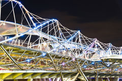 Helix Bridge, Singapore. Singapore's Double Helix Bridge at night royalty free stock photography