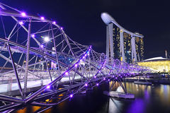 Helix bridge to Marina Bay Hotel Stock Photography