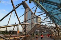 Helix bridge to Marina Bay Hotel Stock Image