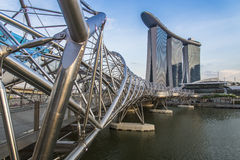 Helix bridge to Marina Bay Hotel Stock Images