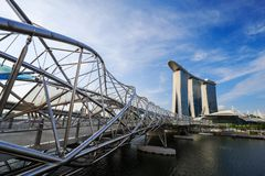 The Helix Bridge, urban landscape of Singapore Royalty Free Stock Images