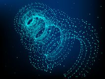 Helix element with connected lines and dots. Big data. vector illustration