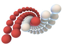 A helix formed by six chains of balls Stock Image