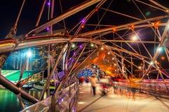 Helix pedestrian bridge in Marina Bay in Singapore Stock Photo