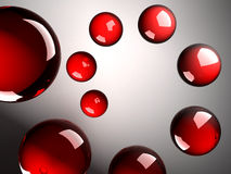 Helix of red shining spheres made of glass. 3d abstract background illustration. Helix of red shining spheres made of glass vector illustration
