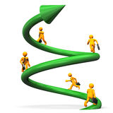 Helix To Success. Orange cartoon characters runs on the green helix Royalty Free Stock Photos