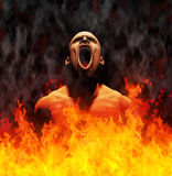 Hell. Rendered image of a man screaming in the flames of hell