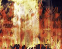 Hell. Abstract illustration of hell with hands and a fiery wall Royalty Free Stock Image