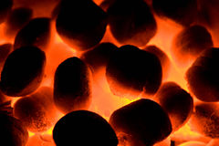 Hell. Burning coals in a grate royalty free stock images