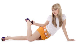 Hell Abbildung der reizenden Blondine Stockfoto