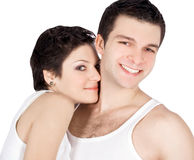 Hell Abbildung eines lächelnden jungen Paares in der Liebe Stockbild