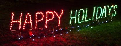 Hell beleuchtetes frohe Feiertage Zeichen Lizenzfreies Stockfoto