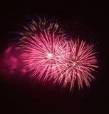 Hell bunte Feuerwerke und Gruß von verschiedenen Farben in Stockfotografie