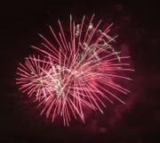 Hell bunte Feuerwerke und Gruß von verschiedenen Farben in Lizenzfreie Stockfotos