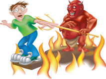 Hell of a day. A devil laughing as he makes someone walk the gangplank! An entry into the June vector competition Royalty Free Stock Photos