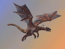 Hell Dragon Flying. A red hell dragon is a creature of myth and legend and is fire-breathing and has horns and wings Stock Images