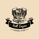 Hell Engine vector vintage motorcycle logo. Biker club sign. Garage label. Vector illustration of hand drawn motor. Royalty Free Stock Photography