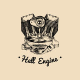 Hell Engine vector vintage motorcycle logo. Biker club sign. Garage label. Vector illustration of hand drawn motor. Stock Photography
