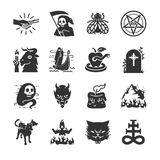 Hell and evil icons. Flat Design Illustration: Hell and evil icons Stock Images