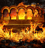 Hell. Fantastic hell entrance with stairs and portal like columns covered in flames and smoke royalty free illustration