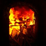 Hell Fire. Taken at Luis chicharon cooking pork rind in filipino traditional way stock image