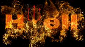 Hell in fire. Word hell with fire effect on black background Royalty Free Stock Images
