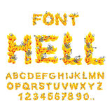 Hell font. inferno ABC. Fire letters. Sinners in hellfire. helli. Sh Alphabet. Scrape down flame for sins. torture skeletons Stock Images