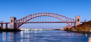 Hell Gate Bridge at night, in Astoria, Queens, New York. USA stock images