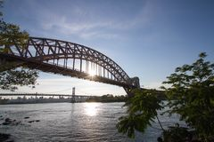 The Hell Gate Bridge and the sun reflect on the river behind the tree. New York Stock Images