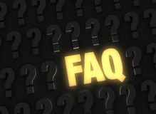 Hell glühendes FAQ Stockbild
