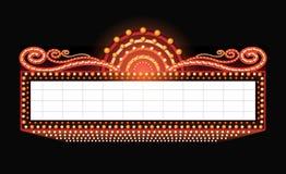 Hell glühende Retro- Kinoleuchtreklame des Theaters Stockfotos