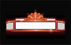 Hell glühende Retro- Kinoleuchtreklame des Vektortheaters Stockfotografie
