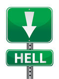 Hell green street sign illustration design over Royalty Free Stock Photo