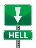 Hell green street sign illustration design over. White royalty free illustration