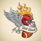 Hell Head Football Tattoo. American football tattoo design of a flaming helmet with wings and a leather ball wrapped with banner. Editable vector illustration Stock Images