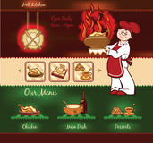 Hell Kitchen template. Hell Kitchen background for web template with chief Stock Photos