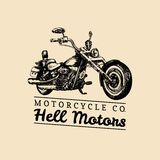 Hell Motors advertising poster. Vector hand drawn chopper for MC sign, label. Vintage detailed motorcycle illustration. Royalty Free Stock Image
