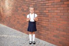 Hell?ngt av lite att le flickan i skolalikformign som poserar mot en skolaing?ngsbakgrund royaltyfria bilder