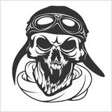 Hell pilot - skull with helmet and glasses. Isolated on white Stock Photos