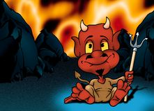 Hell and Red Little Devil Royalty Free Stock Photos