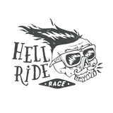 Hell ride race lettering. Mustached biker scull. Vintage print. Textured monochrome retro vector illustration Royalty Free Stock Image