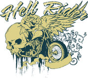 Hell rider. Skull rider escape from hell thanks to his bike Royalty Free Stock Photo