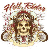 Hell rider. Rider skull wait to take a ride on his bike Royalty Free Stock Photo