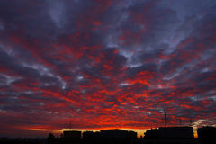 Hell's heaven. Hell evening sky over the city Royalty Free Stock Photo