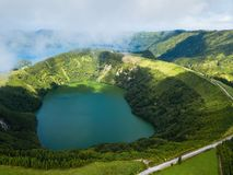 Hell`s Mouth Boca do Inferno - lakes in Sete Cidades volcanic craters on San Miguel island, Azores. Hell`s Mouth Boca do Inferno - lakes in Sete Cidades royalty free stock photo