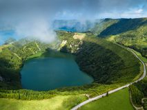 Hell`s Mouth lakes in Sete Cidades volcanic craters on San Miguel island, Azores. Portugal stock images