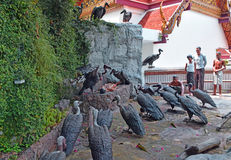 Hell scenario displayed on the way to the top of Golden Mountain, Wat Saket temple, Bangkok Stock Image