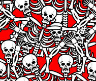 Hell seamless pattern. Skeleton in Sinners background. Ornament Royalty Free Stock Images